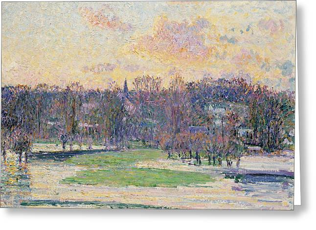 Flood At Sunset Greeting Card by Camille Pissarro