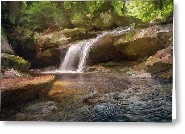 Flooded Waterfall In The Forest Greeting Card