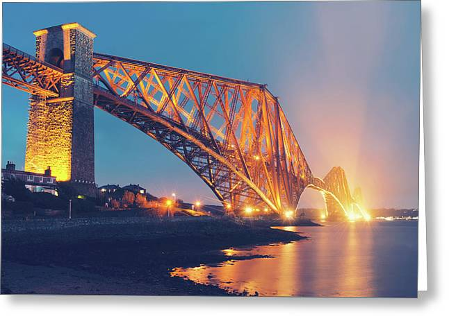 Floodlit Forth Bridge Greeting Card by Ray Devlin