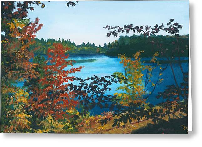 Greeting Card featuring the painting Floodwood by Lynne Reichhart