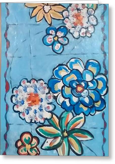 Floor Cloth Blue Flowers Greeting Card