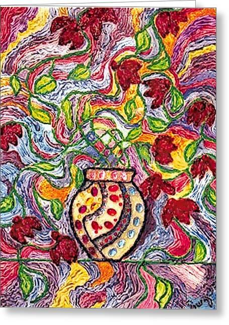 Floowers In A Jeweled Vase Greeting Card by Brenda Adams