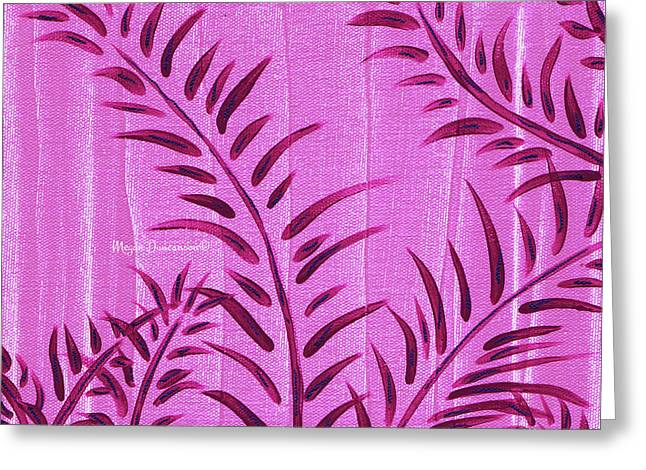 Flora Fauna Tropical Abstract Leaves Painting Magenta Splash By Megan Duncanson Greeting Card by Megan Duncanson