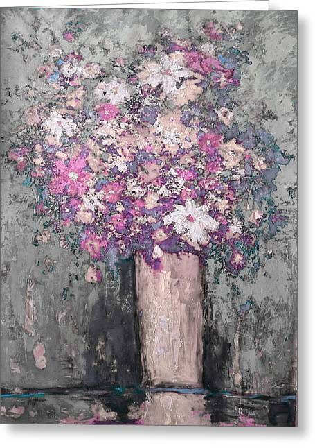 Floral Abstract - Reverse - Modern Impressionist Palette Knife Work Greeting Card