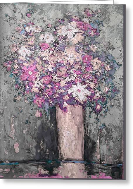 Floral Abstract - Reverse - Modern Impressionist Palette Knife Work Greeting Card by Patricia Awapara