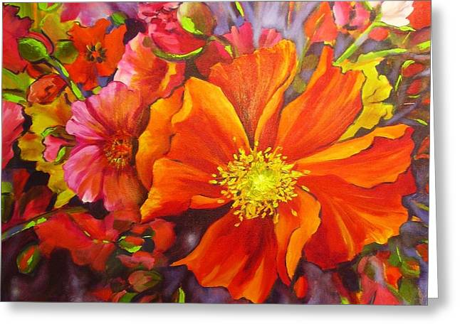 Greeting Card featuring the painting Floral Abundance by Chris Hobel