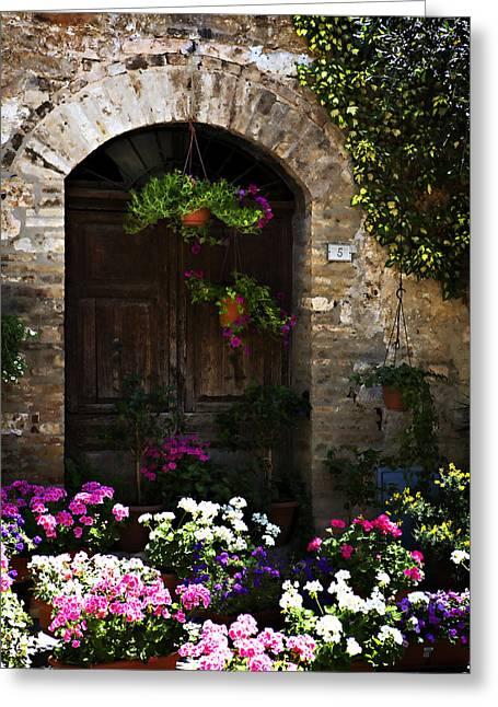 Marilyn Hunt Greeting Cards - Floral Adorned Doorway Greeting Card by Marilyn Hunt