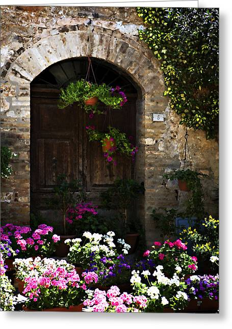 Floral Adorned Doorway Greeting Card by Marilyn Hunt