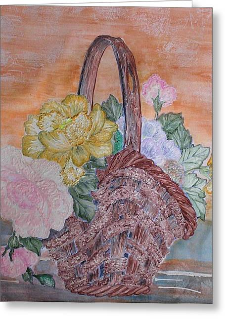 Floral Basket Greeting Card by John Vandebrooke