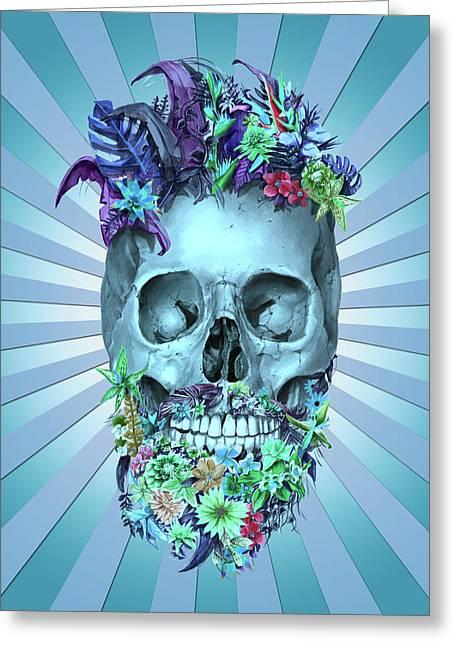 Floral Beard Skull 2 Greeting Card