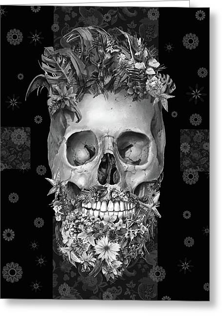Floral Beard Skull 3 Greeting Card
