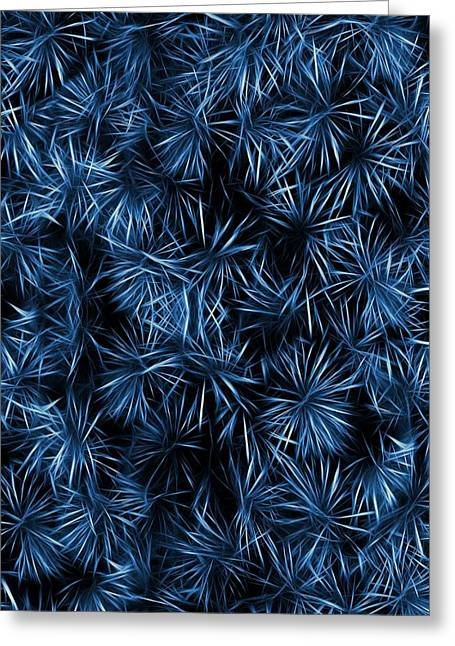 Floral Blue Abstract Greeting Card by David Dehner