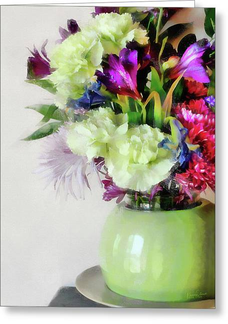 Floral Bouquet In Green Greeting Card