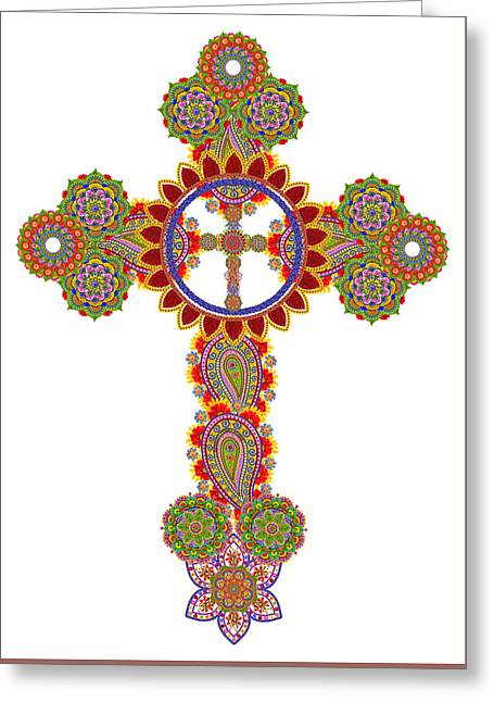 Floral Celtic Cross  Greeting Card by Aleksandr Volkov