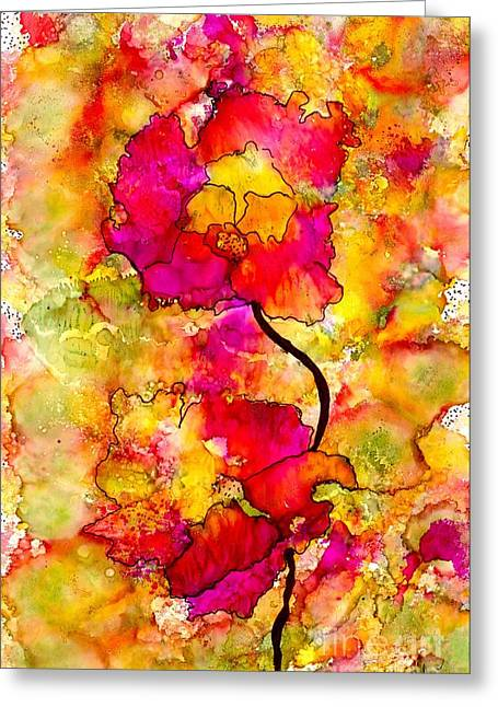 Grief Therapy Greeting Cards - Floral Duet Greeting Card by Angela L Walker