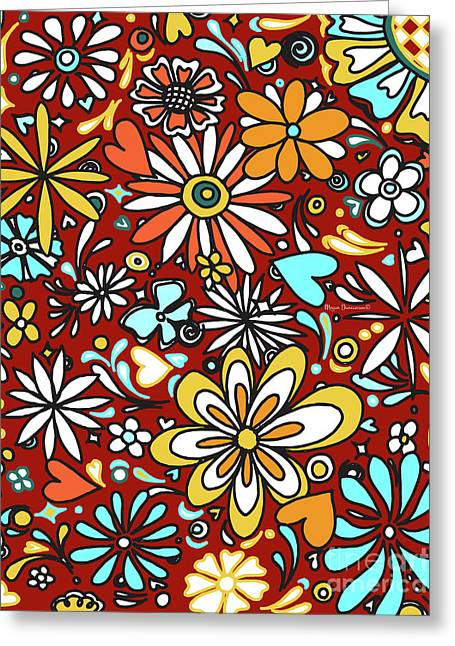 Floral Fiesta II Pattern Flowers And Hearts By Megan Duncanson Greeting Card