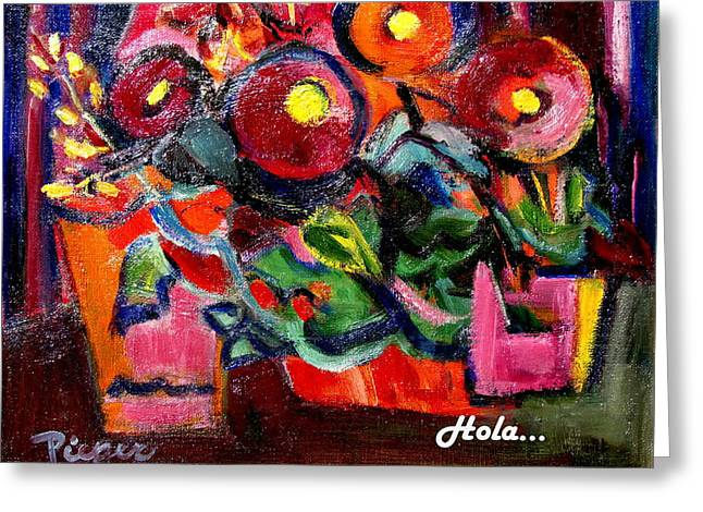 Floral Fiesta With Hola Greeting Card