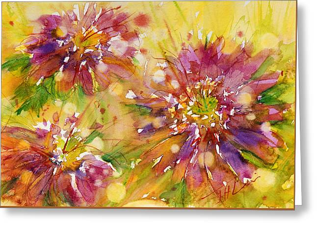 Floral Fireworks Greeting Card by Judith Levins