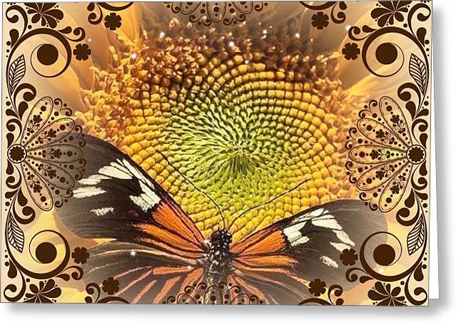 Floral Framed Brown Butterfly Greeting Card by Catherine Lott