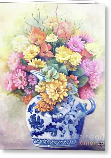 Greeting Card featuring the painting Floral Fusion by Marlene Book
