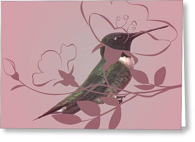 Vision Of Loveliness Greeting Cards - Floral Hummingbird  Greeting Card by Debra     Vatalaro