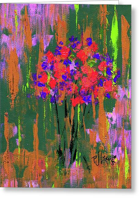 Greeting Card featuring the painting Floral Impresions by P J Lewis