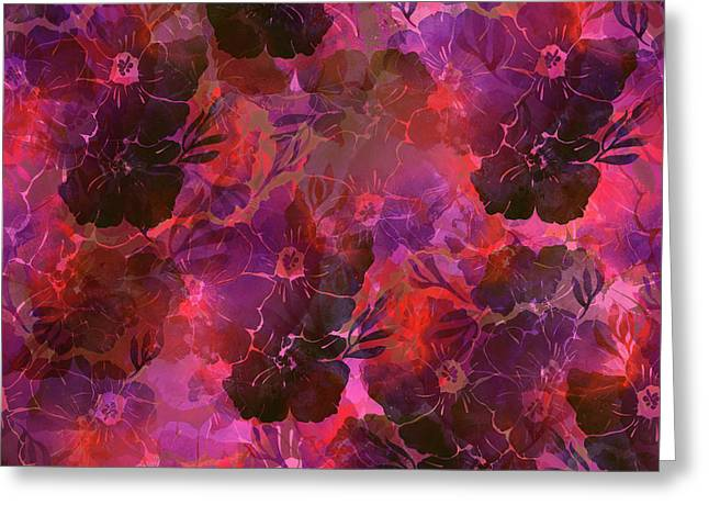 Floral Imprints In Shades Of Magenta And Red Greeting Card by Lucy Chiffon