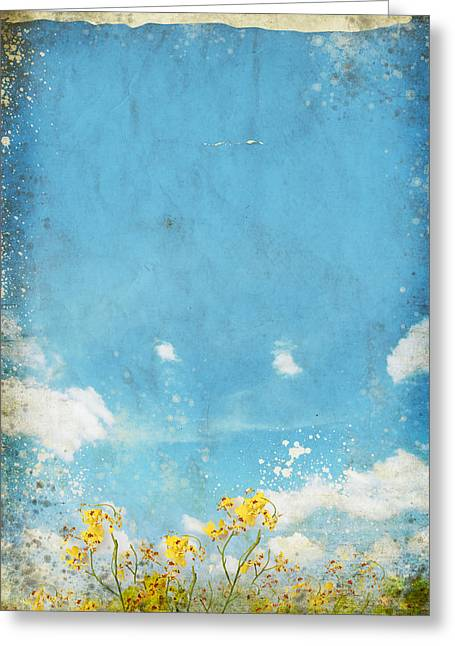 Floral In Blue Sky And Cloud Greeting Card