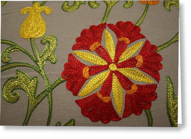 Floral Mandala Tapestry - Detail Greeting Card