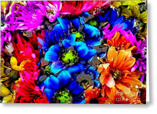 Floral Mosh In Bits And Pieces  Greeting Card