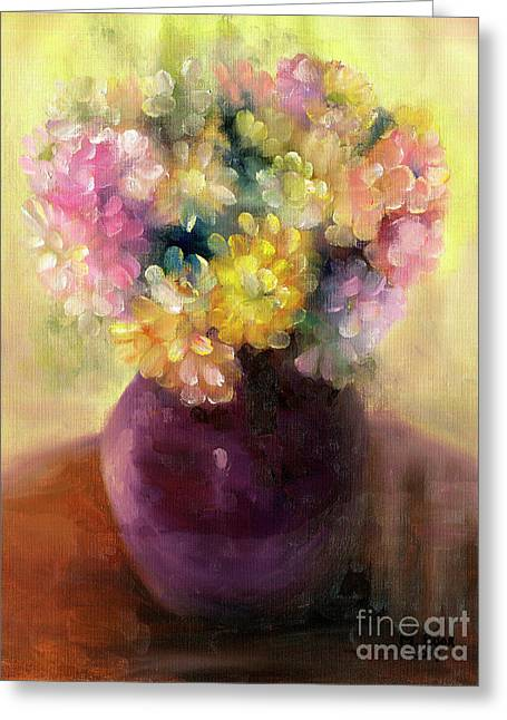 Greeting Card featuring the painting Floral Oil Sketch by Marlene Book