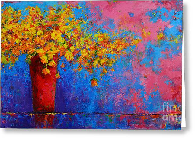 Springs Flowers Modern Impressionist Abstract Floral Palette Knife Work Greeting Card by Patricia Awapara
