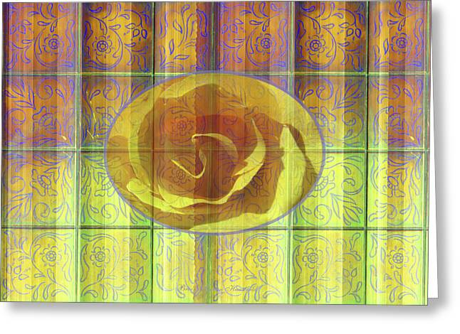 Floral Pattern And Design With Rose Center - Purple And Yellow Greeting Card by Brooks Garten Hauschild