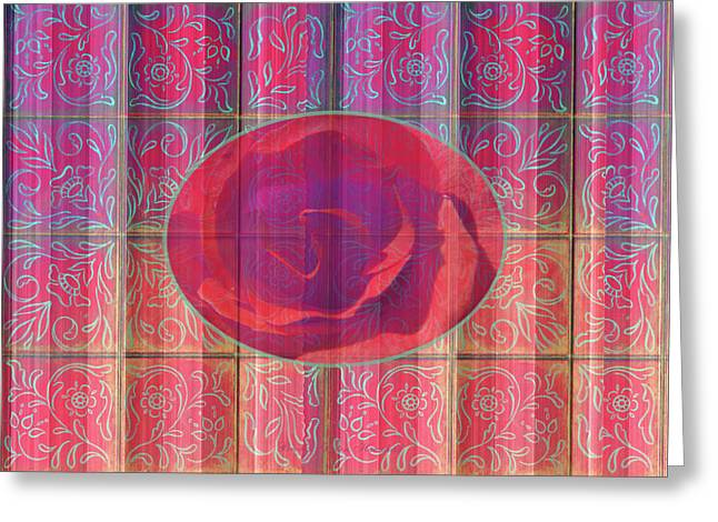 Floral Pattern And Design With Rose Center - Red And Blue Greeting Card by Brooks Garten Hauschild