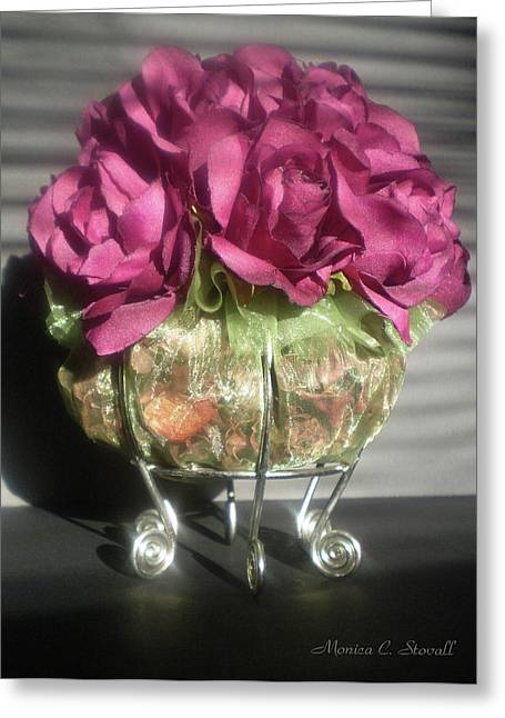Floral Potpourri On A Silver Stand Greeting Card