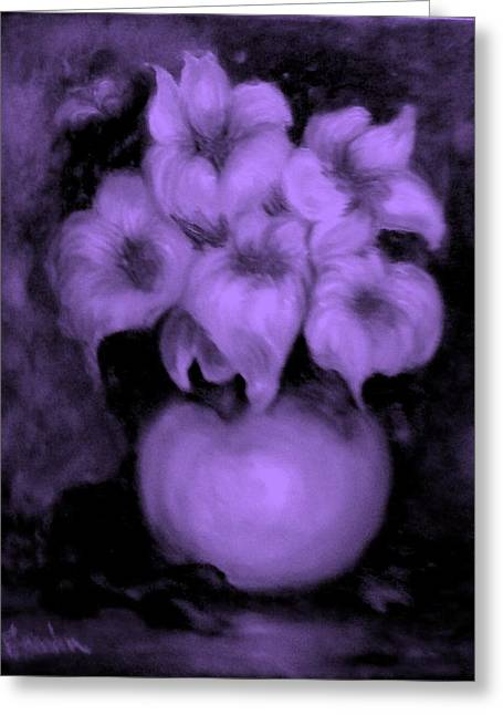 Floral Puffs In Purple Greeting Card