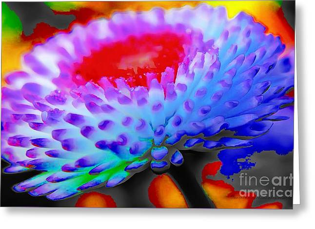Floral Rainbow Splattered In Thick Paint Greeting Card