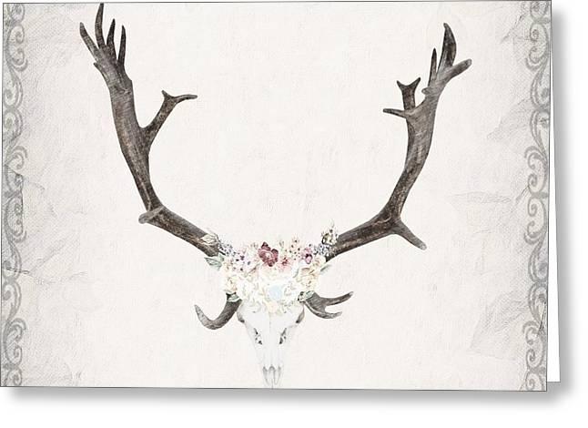 Floral Reindeer Skull  Greeting Card