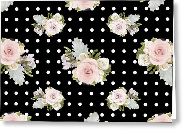 Floral Rose Cluster W Dot Bedding Home Decor Art Greeting Card by Audrey Jeanne Roberts