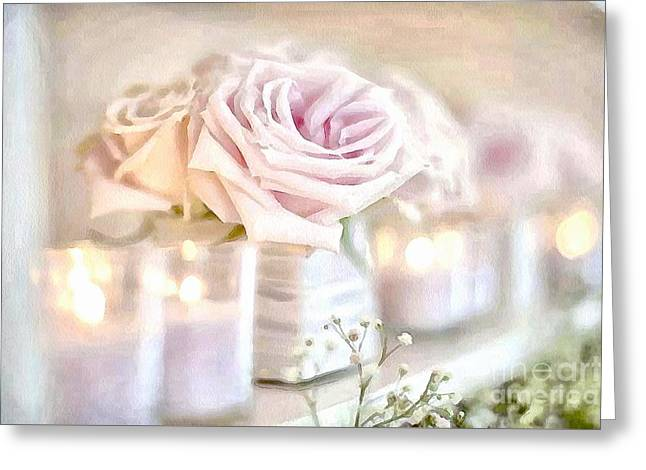Floral Soft With Candles Greeting Card by Catherine Lott