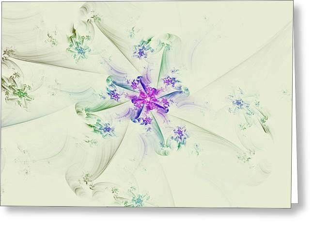 Greeting Card featuring the digital art Floral Spiral by Deborah Benoit