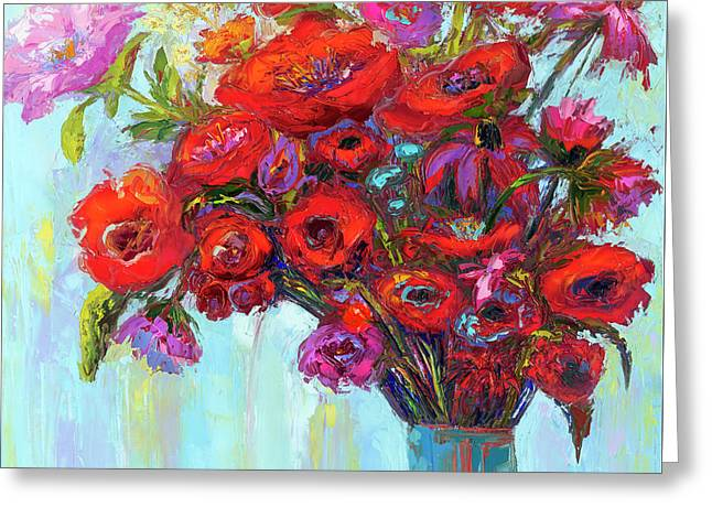 Greeting Card featuring the painting Red Poppies In A Vase, Summer Floral Bouquet, Impressionistic Art by Patricia Awapara