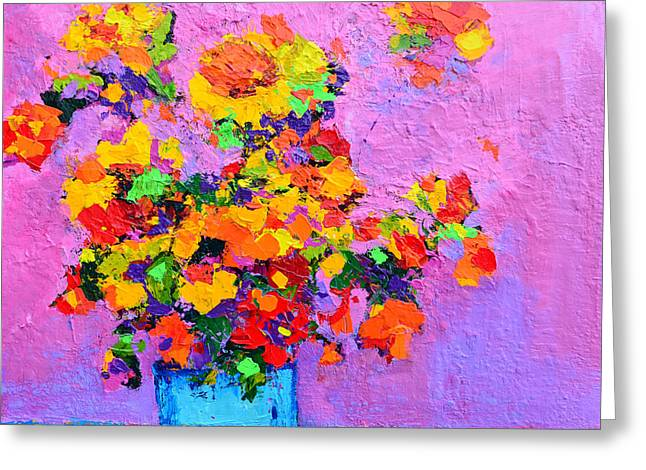 Floral Still Life - Flowers In A Vase Modern Impressionist Palette Knife Artwork Greeting Card by Patricia Awapara