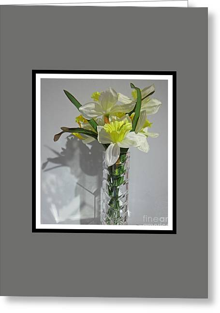 Floral Still Life In Crystal Vase Greeting Card