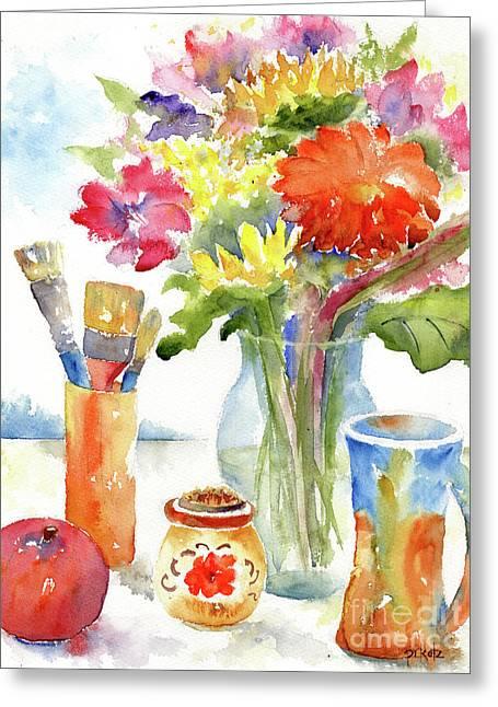 Floral Still Life Greeting Card by Pat Katz