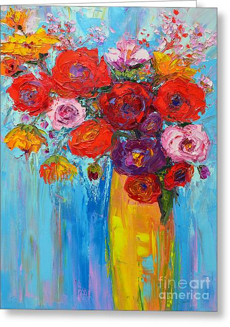 Greeting Card featuring the painting Wild Roses And Peonies, Original Impressionist Oil Painting by Patricia Awapara