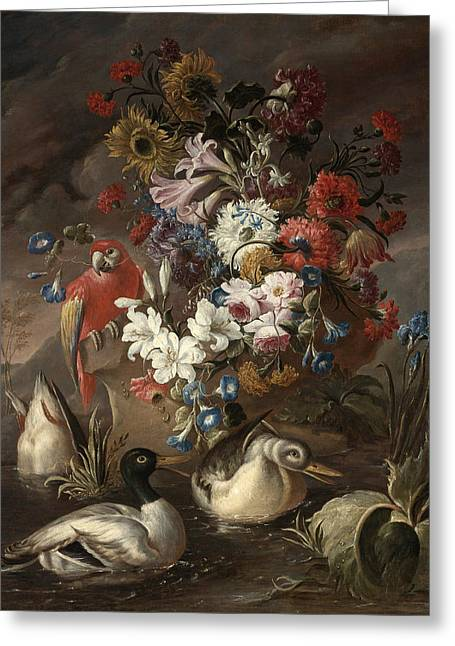 Floral Still Life With A Parrot And Ducks Greeting Card by Andrea Belvedere