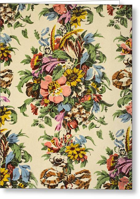 Floral Textile Design Greeting Card by Harry Wearne