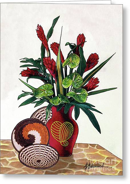 Floral Tropical Greeting Card by Marcella Muhammad