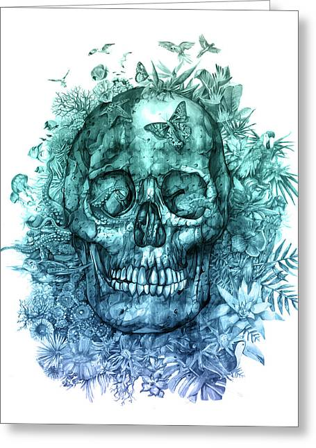 Floral Tropical Skull 2 Greeting Card